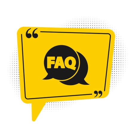 Black Speech bubble with text FAQ information icon isolated on white background. Circle button with text FAQ. Yellow speech bubble symbol. Vector Illustration Ilustração