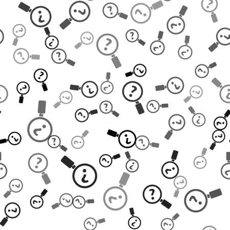 Black Unknown search icon isolated seamless pattern on white background. Magnifying glass and question mark. Vector Illustration Ilustração