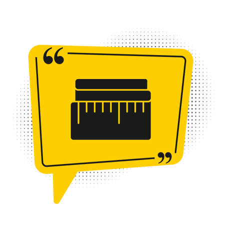 Black Tape measure icon isolated on white background. Measuring tape. Yellow speech bubble symbol. Vector Illustration