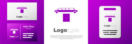 Logotype Luxury limousine car and carpet icon isolated on white background. For world premiere celebrities and guests poster. Logo design template element. Vector Illustration