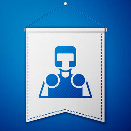 Blue Medieval knight icon isolated on blue background. White pennant template. Vector Vettoriali