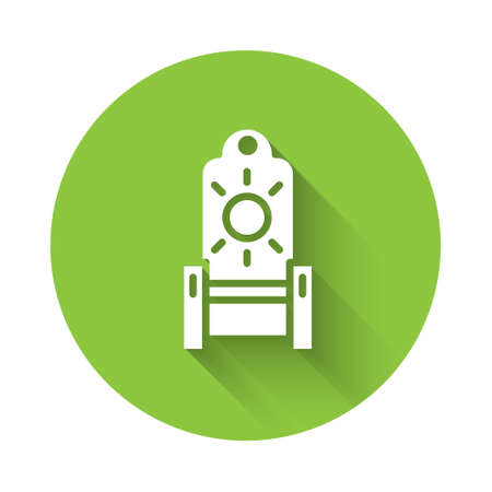 White Medieval throne icon isolated with long shadow. Green circle button. Vector