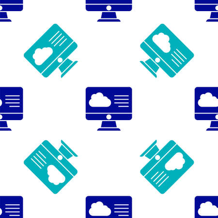Blue Weather forecast icon isolated seamless pattern on white background. Vector Illustration