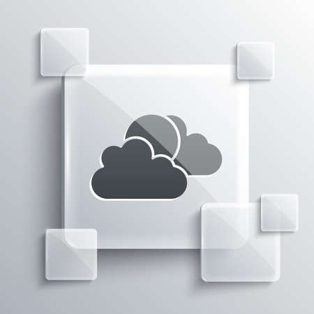 Grey Sun and cloud weather icon isolated on grey background. Square glass panels. Vector