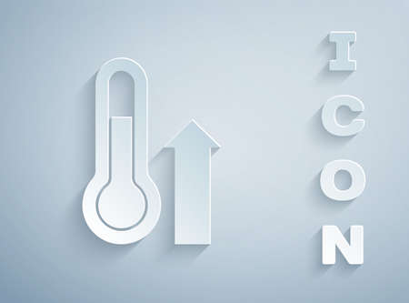 Paper cut Meteorology thermometer measuring icon isolated on grey background. Thermometer equipment showing hot or cold weather. Paper art style. Vector
