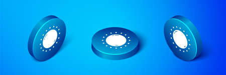 Isometric Sun icon isolated on blue background. Blue circle button. Vector Illustration