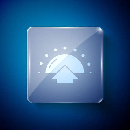 White Sunrise icon isolated on blue background. Square glass panels. Vector