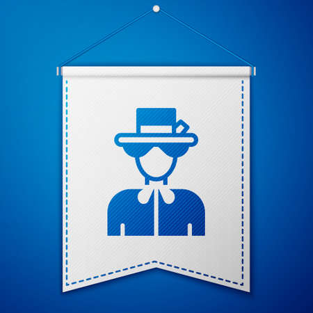 Blue Silhouette of Queen Elizabeth icon isolated on blue background. White pennant template. Vector Illusztráció