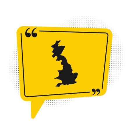 Black England map icon isolated on white background. Yellow speech bubble symbol. Vector Çizim