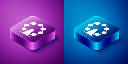 Isometric London eye icon isolated on blue and purple background. Eye london england landmark culture europe icon. Square button. Vector