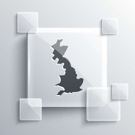 Grey England map icon isolated on grey background. Square glass panels. Vector Çizim
