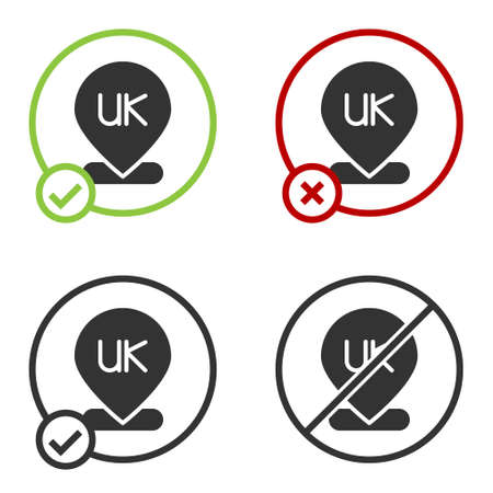 Black Location England icon isolated on white background. Circle button. Vector