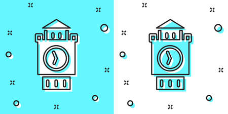 Black line Big Ben tower icon isolated on green and white background. Symbol of London and United Kingdom. Random dynamic shapes. Vector