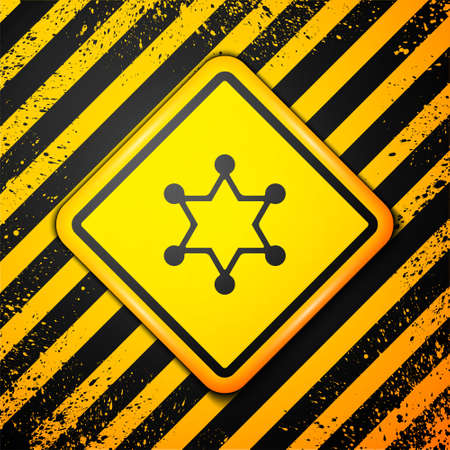 Black Hexagram sheriff icon isolated on yellow background. Police badge icon. Warning sign. Vector Illusztráció