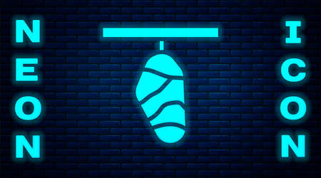 Glowing neon Butterfly cocoon icon isolated on brick wall background. Pupa of the butterfly. Vector Çizim