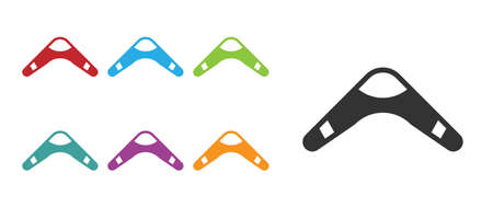 Black Boomerang icon isolated on white background. Set icons colorful. Vector
