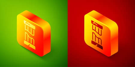Isometric Broken ancient column icon isolated on green and red background. Square button. Vector