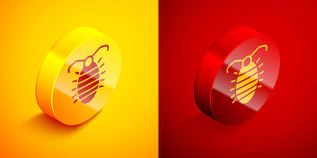 Isometric Larva insect icon isolated on orange and red background. Circle button. Vector