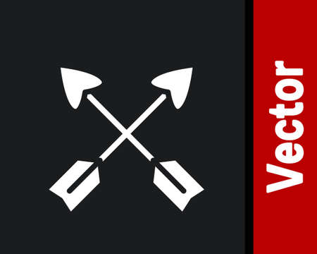 White Crossed arrows icon isolated on black background. Vector