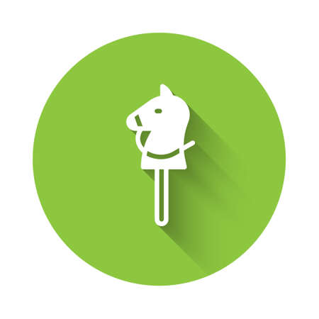 White Toy horse icon isolated with long shadow. Green circle button. Vector 向量圖像