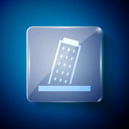 White Leaning Tower in Pisa icon isolated on blue background. Italy symbol. Square glass panels. Vector