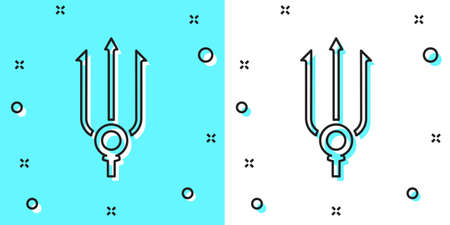 Black line Neptune Trident icon isolated on green and white background. Random dynamic shapes. Vector