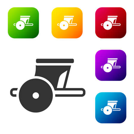 Black Ancient Greece chariot icon isolated on white background. Set icons in color square buttons. Vector