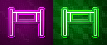 Glowing neon line Volleyball net icon isolated on purple and green background. Vector Illustration