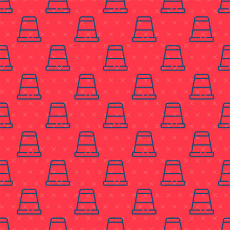 Blue line Thimble for sewing icon isolated seamless pattern on red background. Vector Illustration Иллюстрация