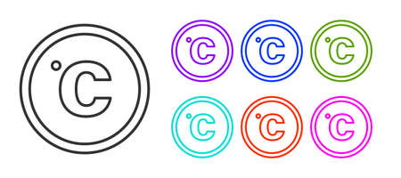 Black line Celsius icon isolated on white background. Set icons colorful. Vector Illustration