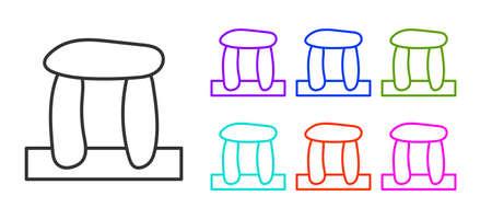 Black line Stonehenge icon isolated on white background. Set icons colorful. Vector