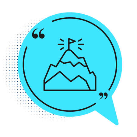 Black line Mountains with flag on top icon isolated on white background. Symbol of victory or success concept. Goal achievement. Blue speech bubble symbol. Vector