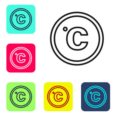 Black line Celsius icon isolated on white background. Set icons in color square buttons. Vector