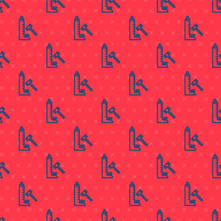 Blue line High striker attraction with big hammer icon isolated seamless pattern on red background. Attraction for measuring strength. Amusement park. Vector