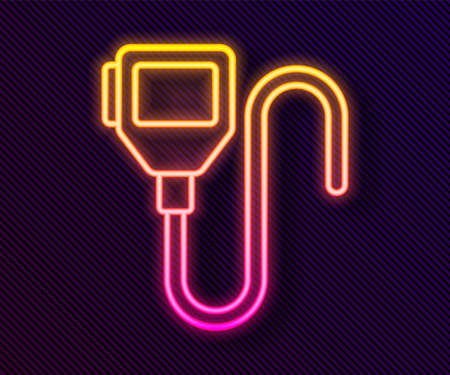 Glowing neon line Walkie talkie icon isolated on black background. Portable radio transmitter icon. Radio transceiver sign. Vector 向量圖像