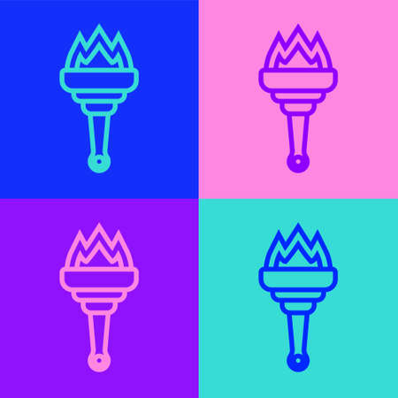Pop art line Torch flame icon isolated on color background. Symbol fire hot, flame power, flaming and heat. Vector