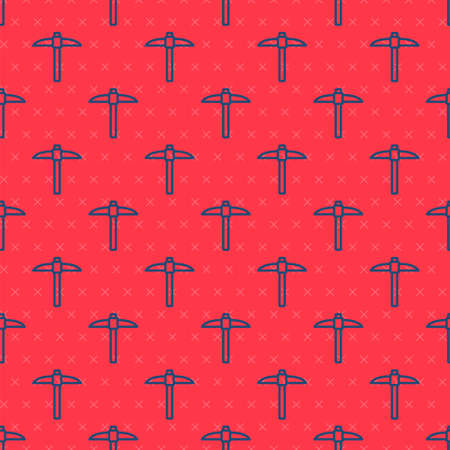 Blue line Pickaxe icon isolated seamless pattern on red background. Blockchain technology, cryptocurrency mining, bitcoin, digital money market, cryptocoin wallet. Vector Иллюстрация