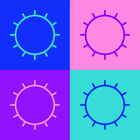 Pop art line Sun icon isolated on color background. Summer symbol. Good sunny day. Vector Illustration