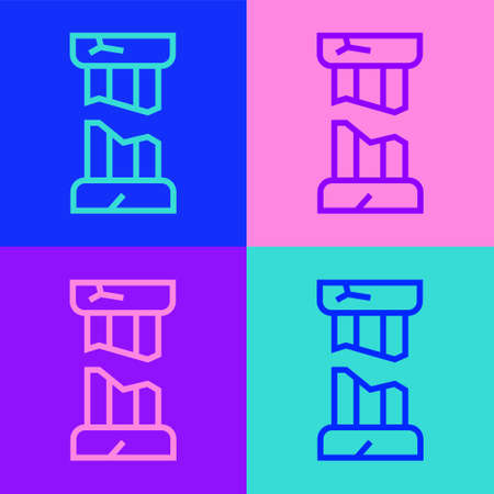 Pop art line Broken ancient column icon isolated on color background. Vector.