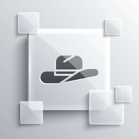 Grey Western cowboy hat icon isolated on grey background. Square glass panels. Vector Illustration