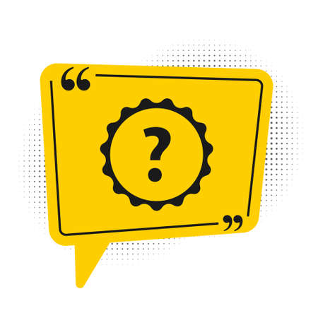 Black Question mark icon isolated on white background. FAQ sign. Copy files, chat speech bubble and chart. Yellow speech bubble symbol. Vector Illustration