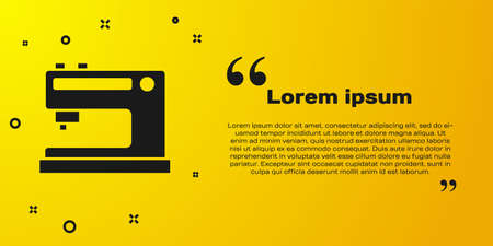 Black Sewing machine icon isolated on yellow background. Vector Illustration