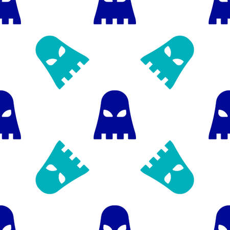 Blue Executioner mask icon isolated seamless pattern on white background. Hangman, torturer, executor, tormentor, butcher, headsman icon. Vector