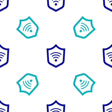 Shield with WiFi wireless internet network symbol icon isolated seamless pattern on white background. Protection safety concept. Vector Vectores