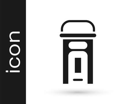 Black London phone booth icon isolated on white background. Classic english booth phone in london. English telephone street box. Vector Çizim