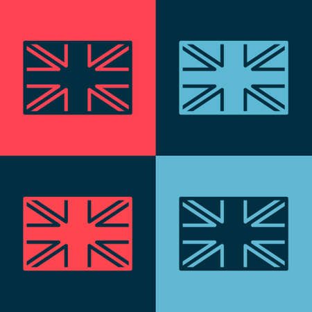 Pop art Flag of Great Britain icon isolated on color background. UK flag sign. Official United Kingdom flag. British symbol. Vector Çizim