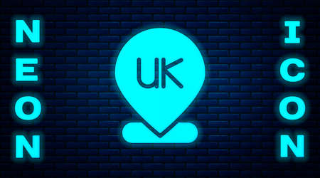 Glowing neon Location England icon isolated on brick wall background. Vector