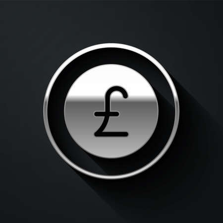 Silver Coin money with pound sterling symbol icon isolated on black background. Banking currency sign. Cash symbol. Long shadow style. Vector