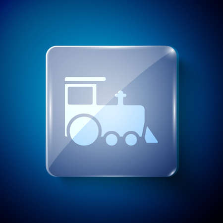 White Toy train icon isolated on blue background. Square glass panels. Vector Иллюстрация