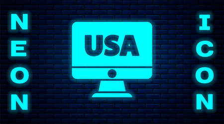 Glowing neon USA United states of america on monitor icon isolated on brick wall background. Vector